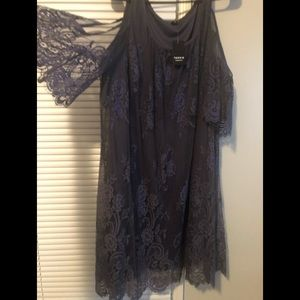Purple Lace Cold Shoulder Dress